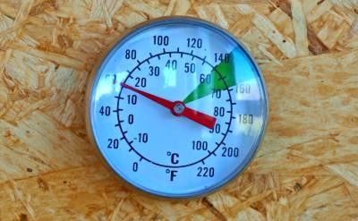Die Temperatur im Räucherschrank überwachen.
